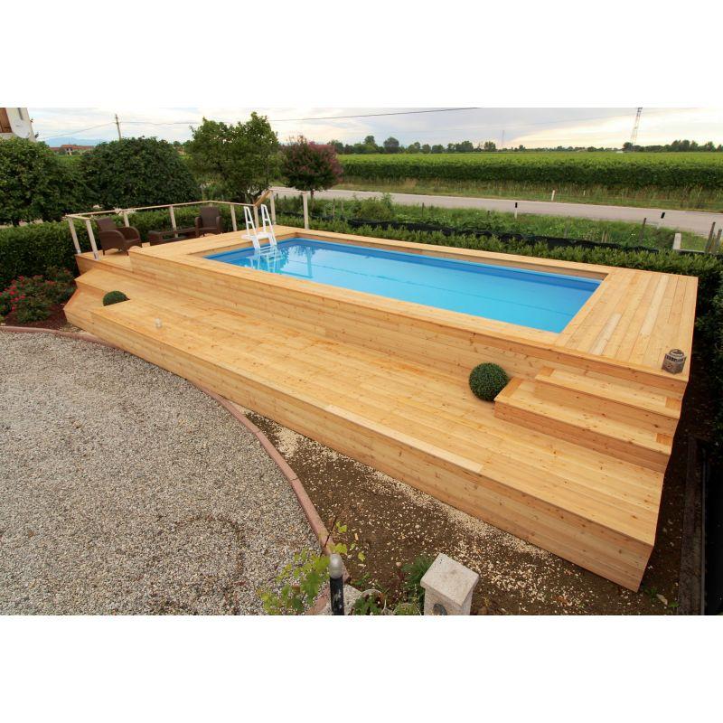 Piscina fuori terra su misura e personalizzata in legno di - Piscine fuori terra con solarium ...