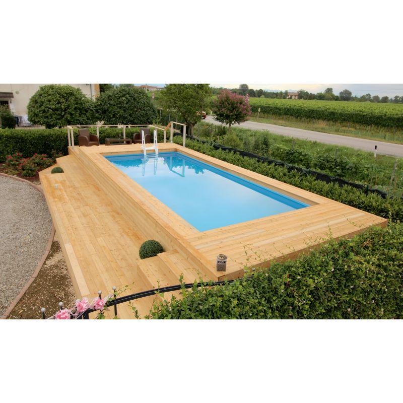 Piscina fuori terra su misura e personalizzata in legno di larice - Giardino con piscina fuori terra ...