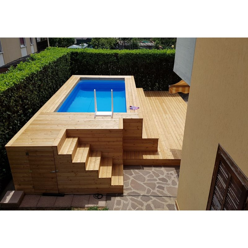Piscina fuori terra in legno di larice con gradinate su misura - Giardino con piscina fuori terra ...
