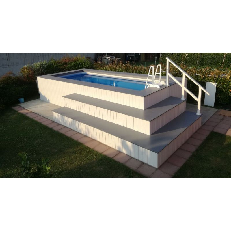 Piscina fuori terra rivestita in wpc personalizzata - Rivestimento piscina fuori terra ...