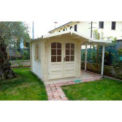 Casetta in legno ad incastro 200x200 porta doppia