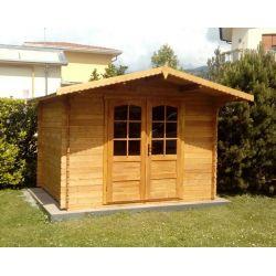 Casetta in legno ad incastro 300x200 porta doppia