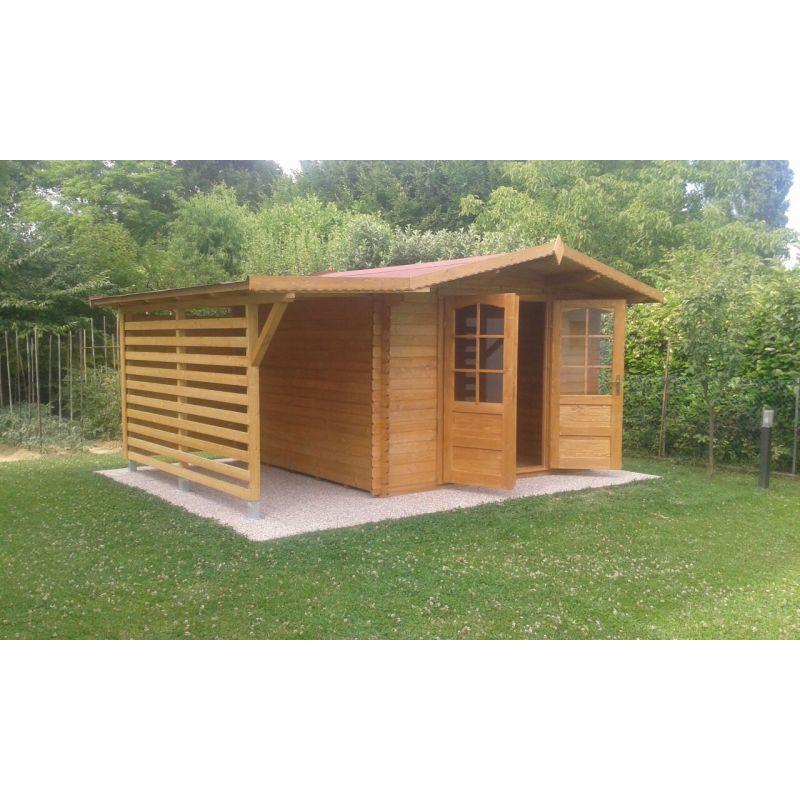 Casetta in legno con tettoia laterale accessori per piscine - Tettoia giardino ...