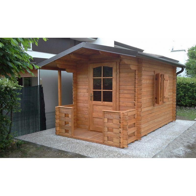 Casetta in legno 200x250 con veranda frontale accessori for Casetta con avvolgente portico