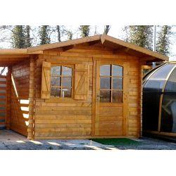 Casetta in legno ad incastro 385x385 porta singola e finestra