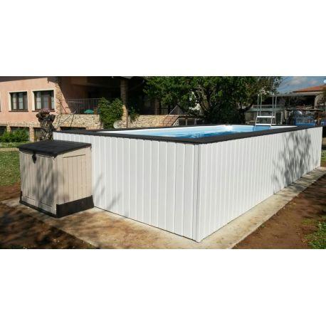 Piscina fuori terra su misura con rivestimeto in wpc - Giardino con piscina fuori terra ...