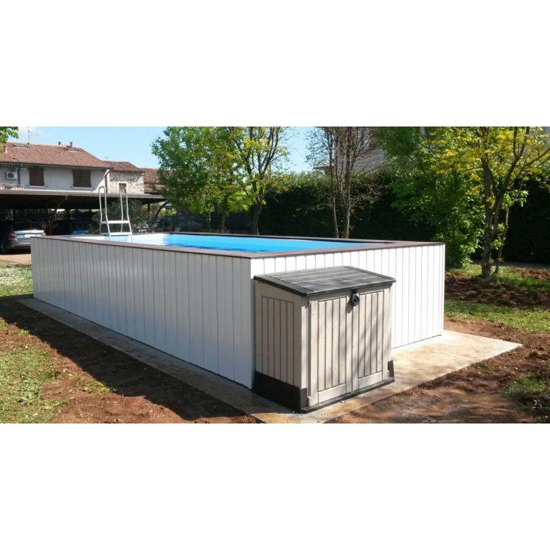 Piscina fuori terra su misura con rivestimeto in wpc for Accessori per piscine fuori terra