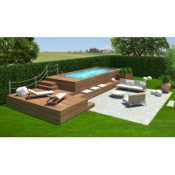 Piscina fuori terra e soppalco personalizzato con rivestimento in legno di larice