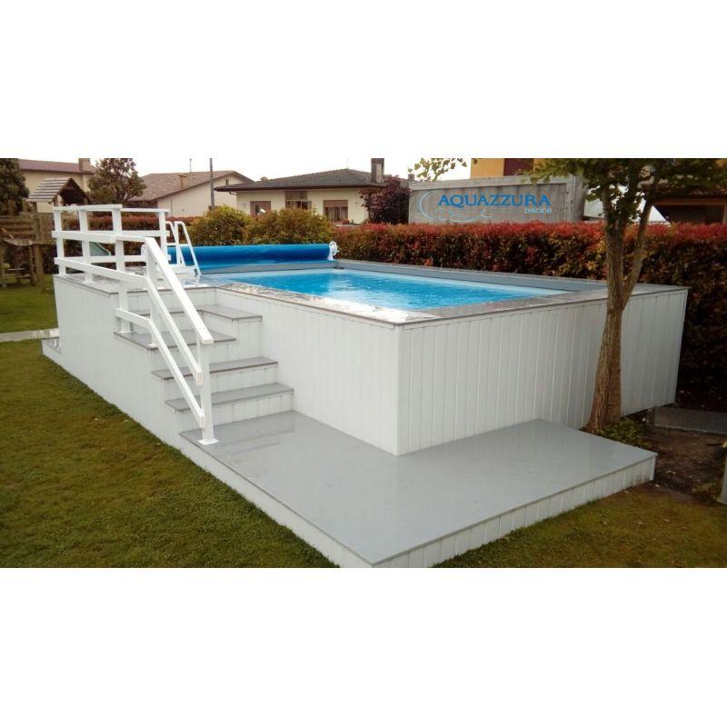 Piscina fuori terra con solarium peronalizzato in wpc - Rivestimento piscina fuori terra ...