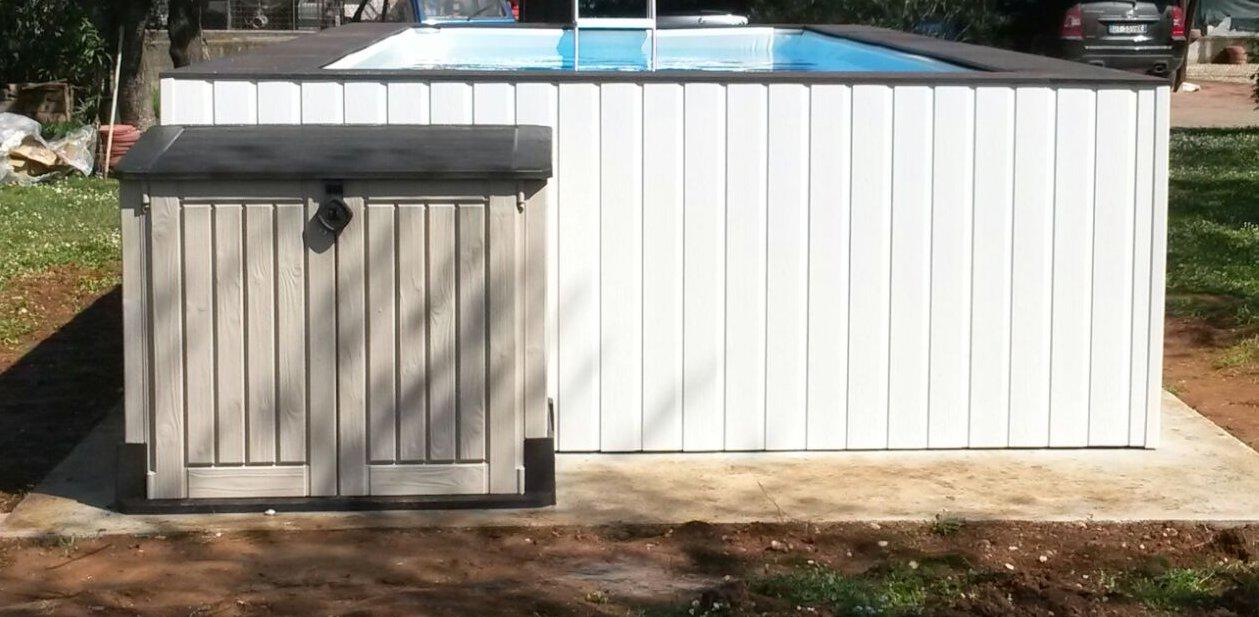Piscina fuori terra su misura con rivestimeto in wpc - Locale tecnico piscina ...
