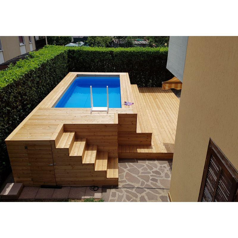 Piscina fuori terra in legno di larice con gradinate su misura - Piscina fuori terra in giardino ...