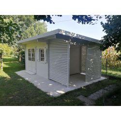 Casetta in legno spessore 40mm con tettoia laterale impregnata tinta bianco