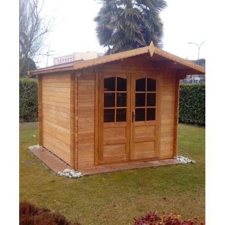 Casetta in legno ad incastro 200x250 porta doppia