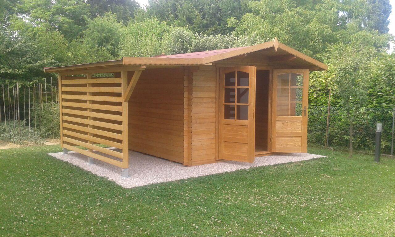 Casetta In Legno Giardino : Casetta in legno con tettoia laterale accessori per piscine