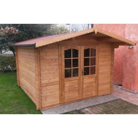 Casetta in legno ad incastro 390x390 porta doppia
