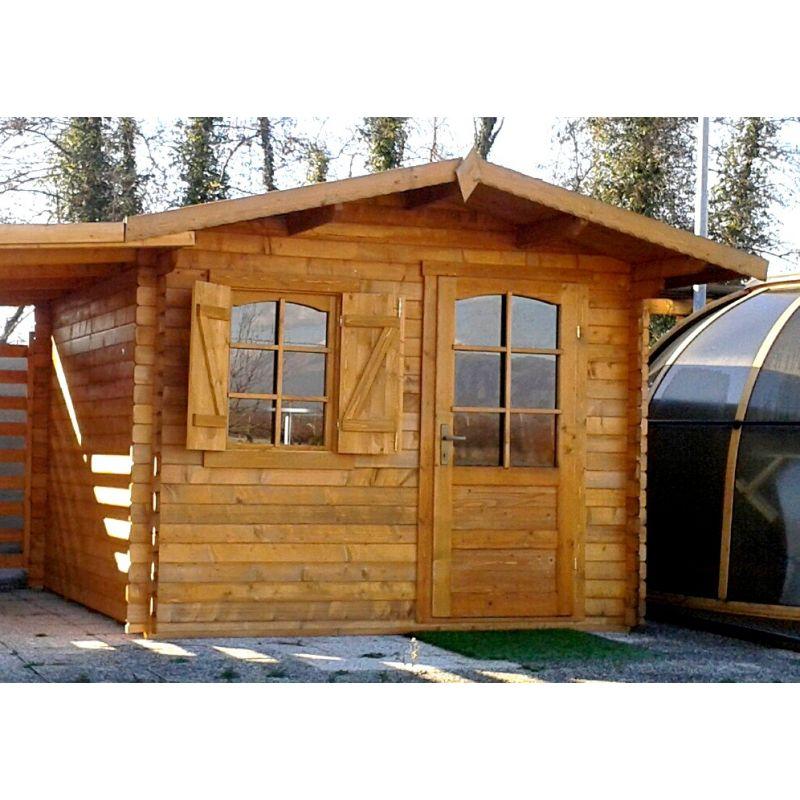 Casetta in legno ad incastro 385x385 porta singola e finestra accessori per piscine - Porta finestra in legno ...