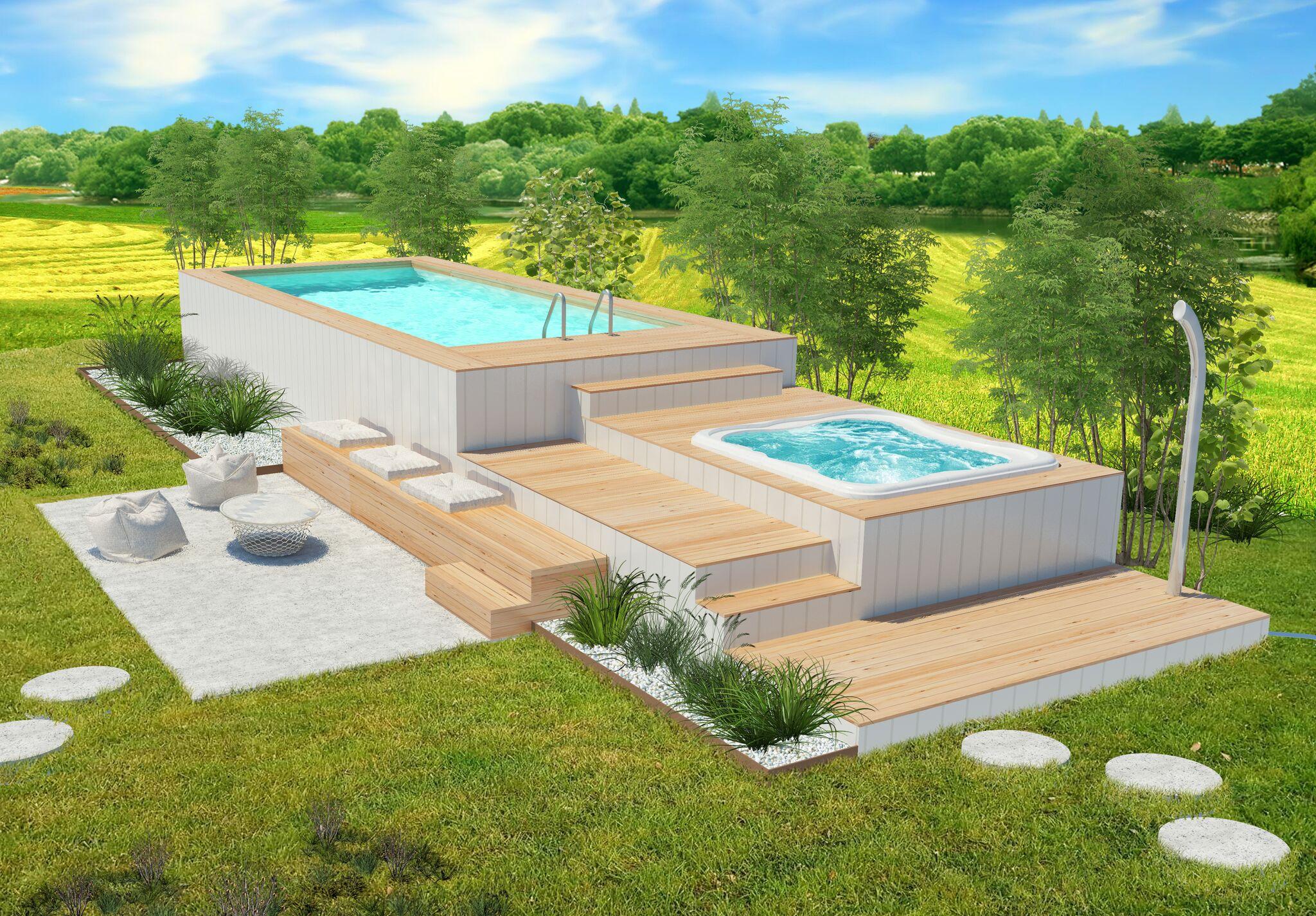 Quanto Costa Piscina Interrata piscina fuori terra con spa jacuzzi idromassaggio