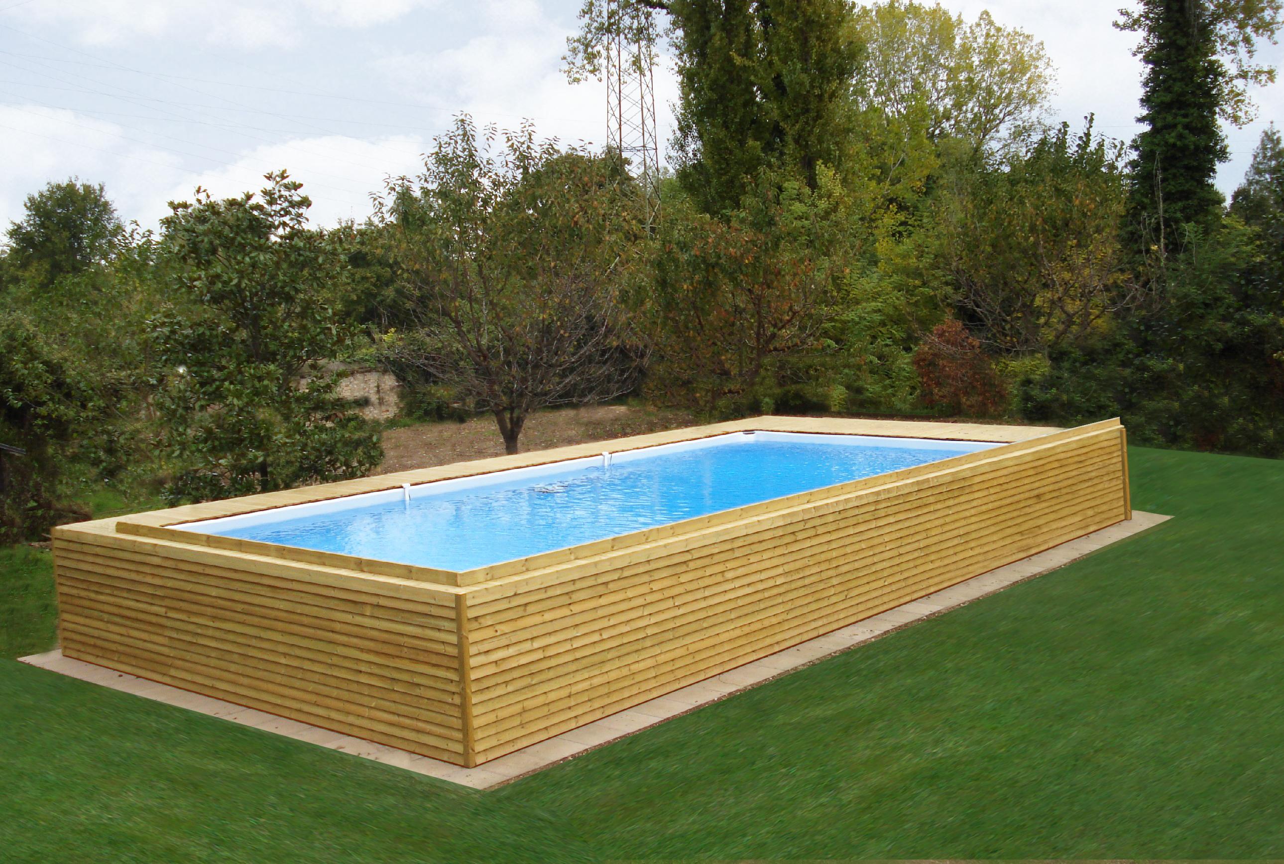 piscina fuori terra con rivestimento in legno